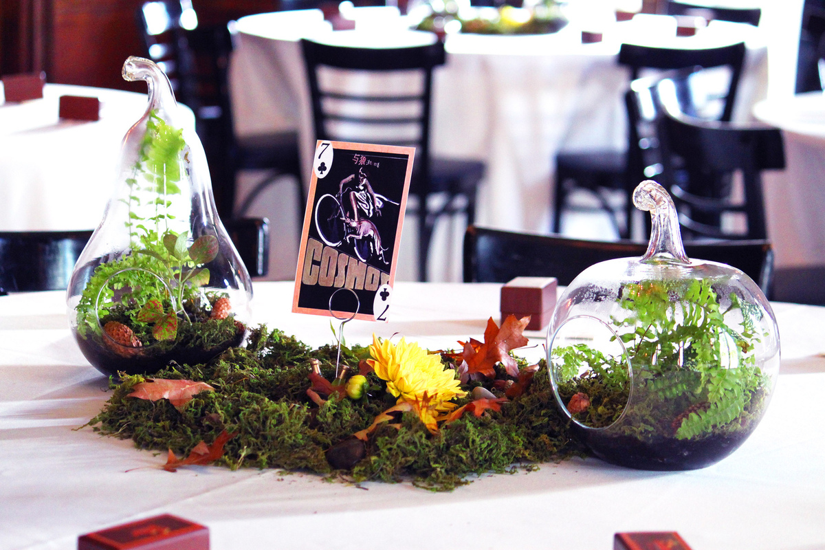 Events stylist Singapore - Terrariums and fall flowers