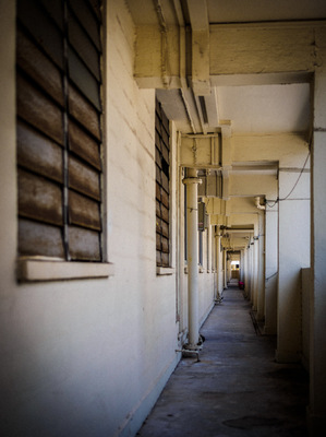 Snaps - My Photographic Creation - Old HDB blocks are characterized by common corridor which you seldom see in todays newer estates, the corridors on each floor of this block is empty, devoid of all life.