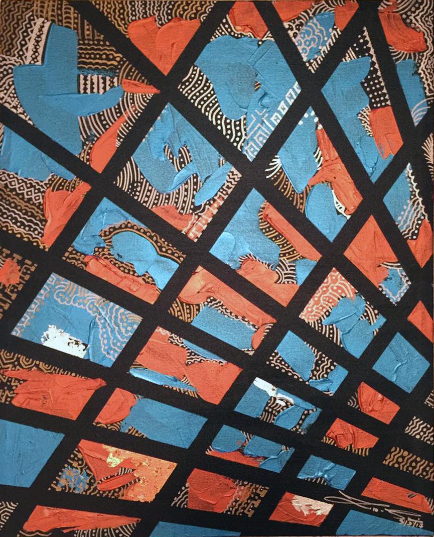 The World is my Canvas - Title : Pintados Series in Blue Size : 42X59.5 CM Medium : Acrylic on Canvas & Gold Leaf Artist : Susan V. de Guzman Year : 2016