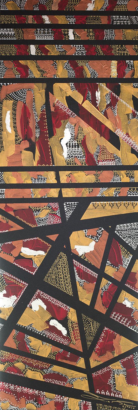 The World is my Canvas - Title : Bantayog na Likha (Monumental Work) Size : 61X184 CM Medium : Acrylic on Canvas & Gold Leaf Artist : Susan V. de Guzman Year : 2016