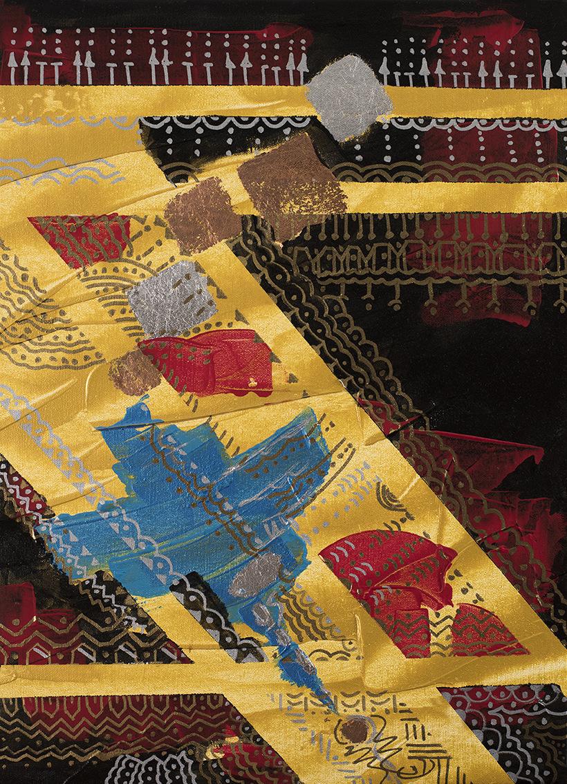The World is my Canvas - Title : Pintados Series in Gold Size : 42X59.5 CM Medium : Acrylic on Canvas & Gold Leaf Artist : Susan V. de Guzman Year : 2016