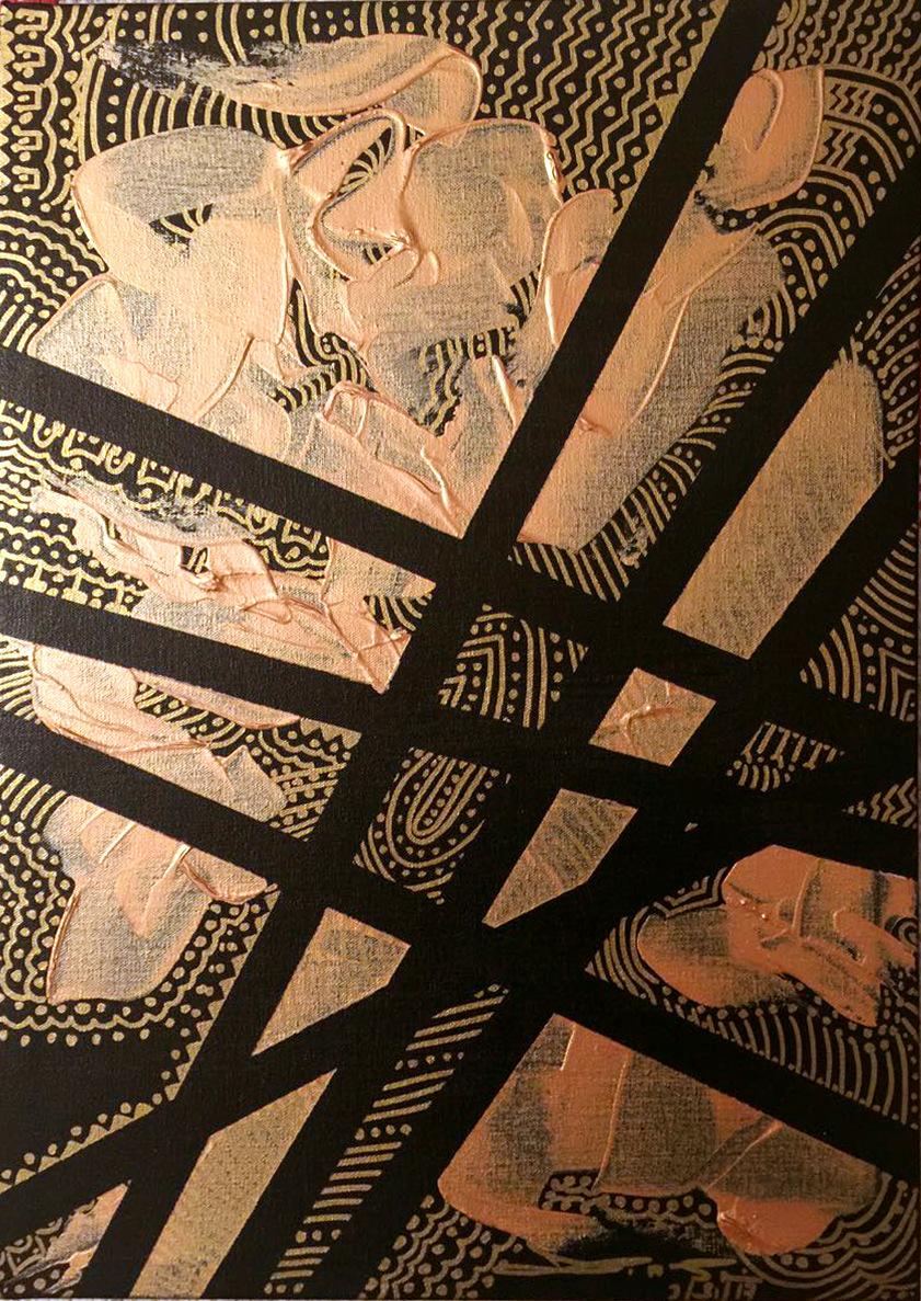 The World is my Canvas - Title : Pintados Series in Gold II Size : 42X59.5 CM Medium : Acrylic on Canvas & Gold Leaf Artist : Susan V. de Guzman Year : 2016