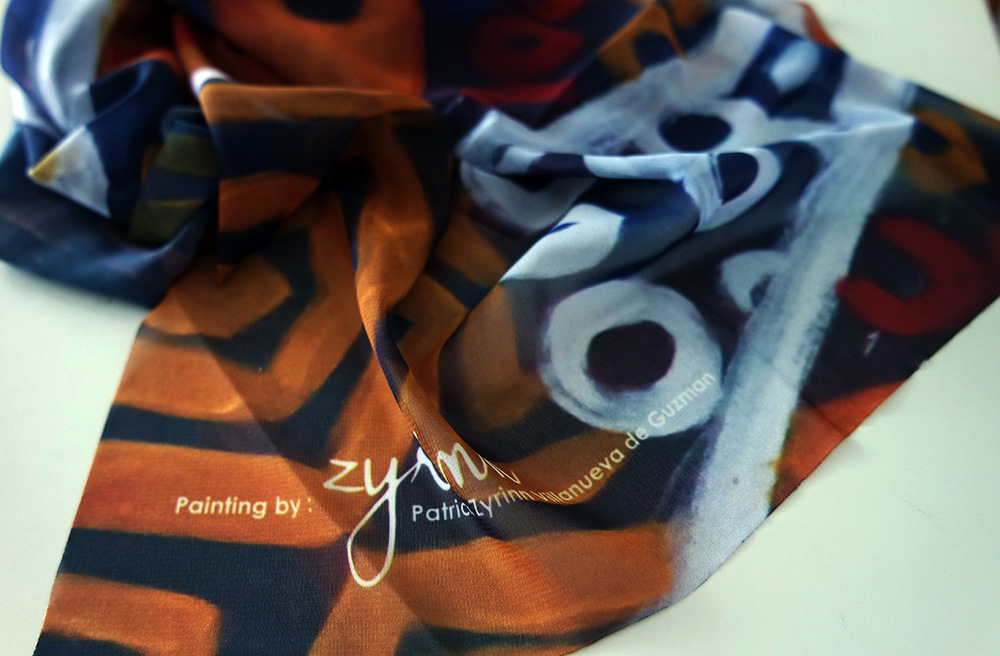 The World is my Canvas - Patricias Painting on Scarf Ati-Atihan Series