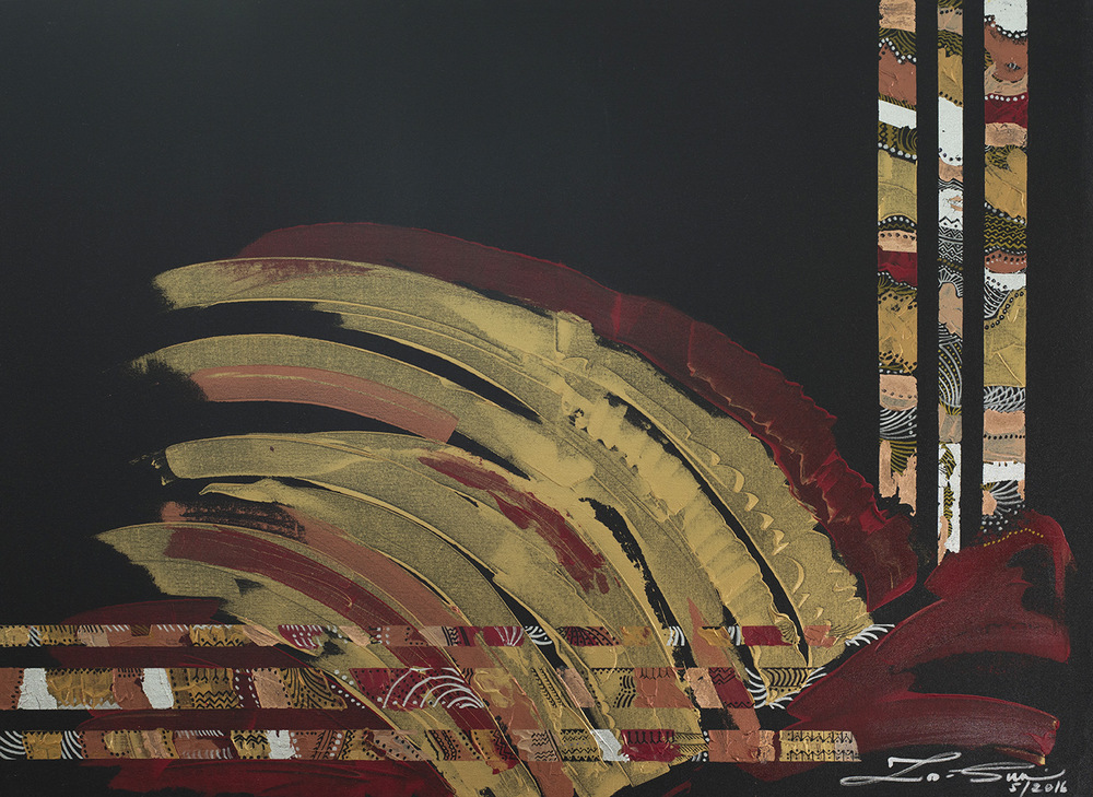 The World is my Canvas - Title : Pintados, Series IV Size : 91.44X121.92 CM Medium : Acrylic on Canvas & Gold Leaf Artist : Susan V. de Guzman