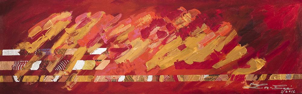 The World is my Canvas - Title : Bakas (Traces) Size : 42X136 CM Medium : Acrylic on Canvas & Gold Leaf Artist : Susan V. de Guzman