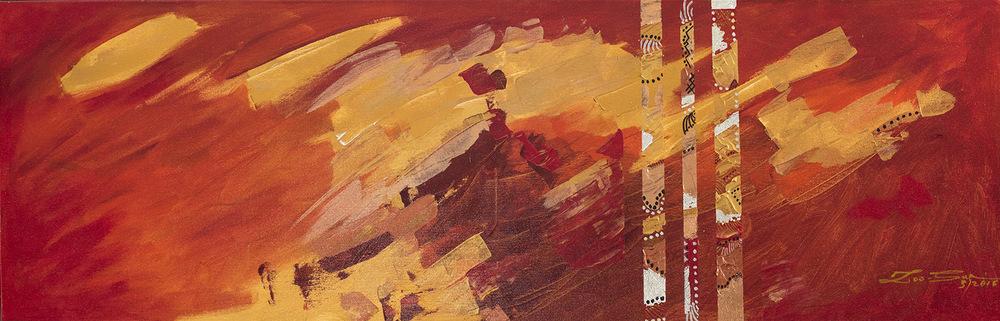 The World is my Canvas - Title : Paglipas (Passing) Size : 42X136 CM Medium : Acrylic on Canvas & Gold Leaf Artist : Susan V. de Guzman Year : 2016