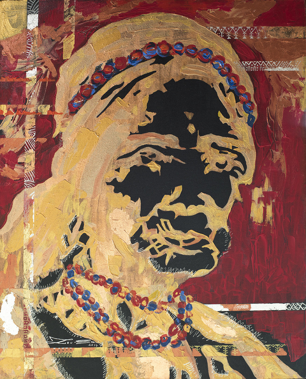 The World is my Canvas - Title : Pintados, Kalinga Tribe Series I (Whang Od) Size : 60.96X76.2 CM Medium : Acrylic on Canvas & Gold Leaf Artist : Susan V. de Guzman Year : 2016