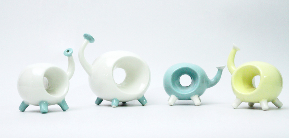 "Ingchanok S. - ""Dino Vase"" 2013. Porcelain Clay, Slip Casting,Engobe and High Temperature Firing, 20x60x30 cm. (dimensions vary with installation)"