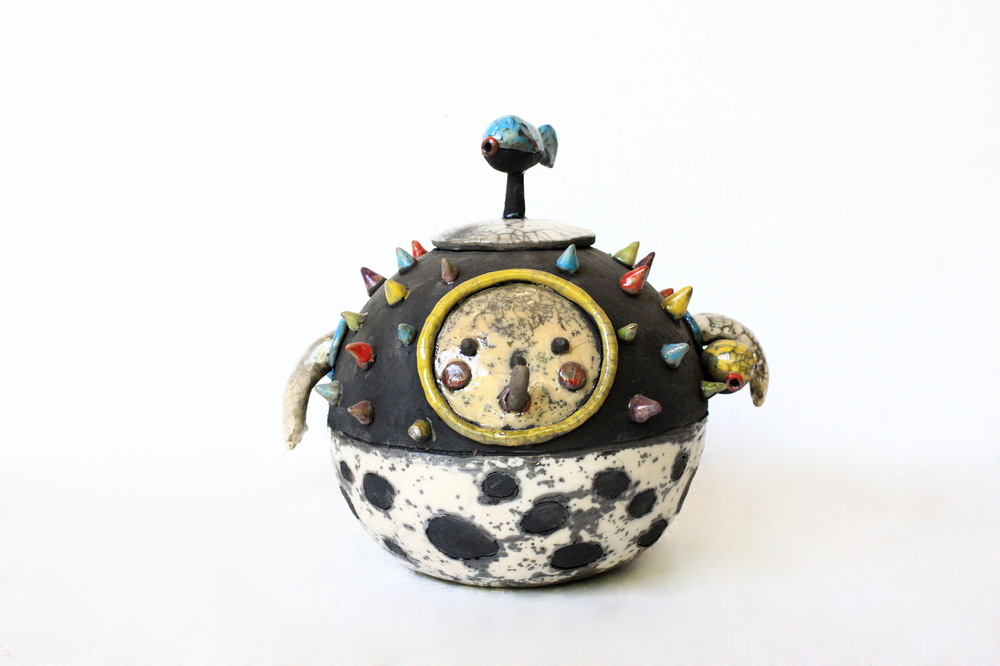 "Ingchanok S. - ""I am fish no.2 - Pufferfish"" 2013. Stoneware Clay, Hand Forming,engobe and raku firing, 20x25x35 cm."