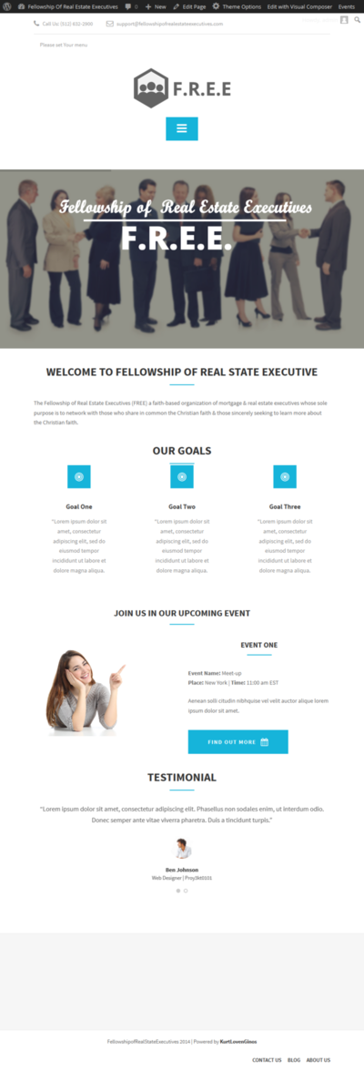 Proyekto101 - Homepage Design for Fellowship of Real Estate Executives (FREE) Website