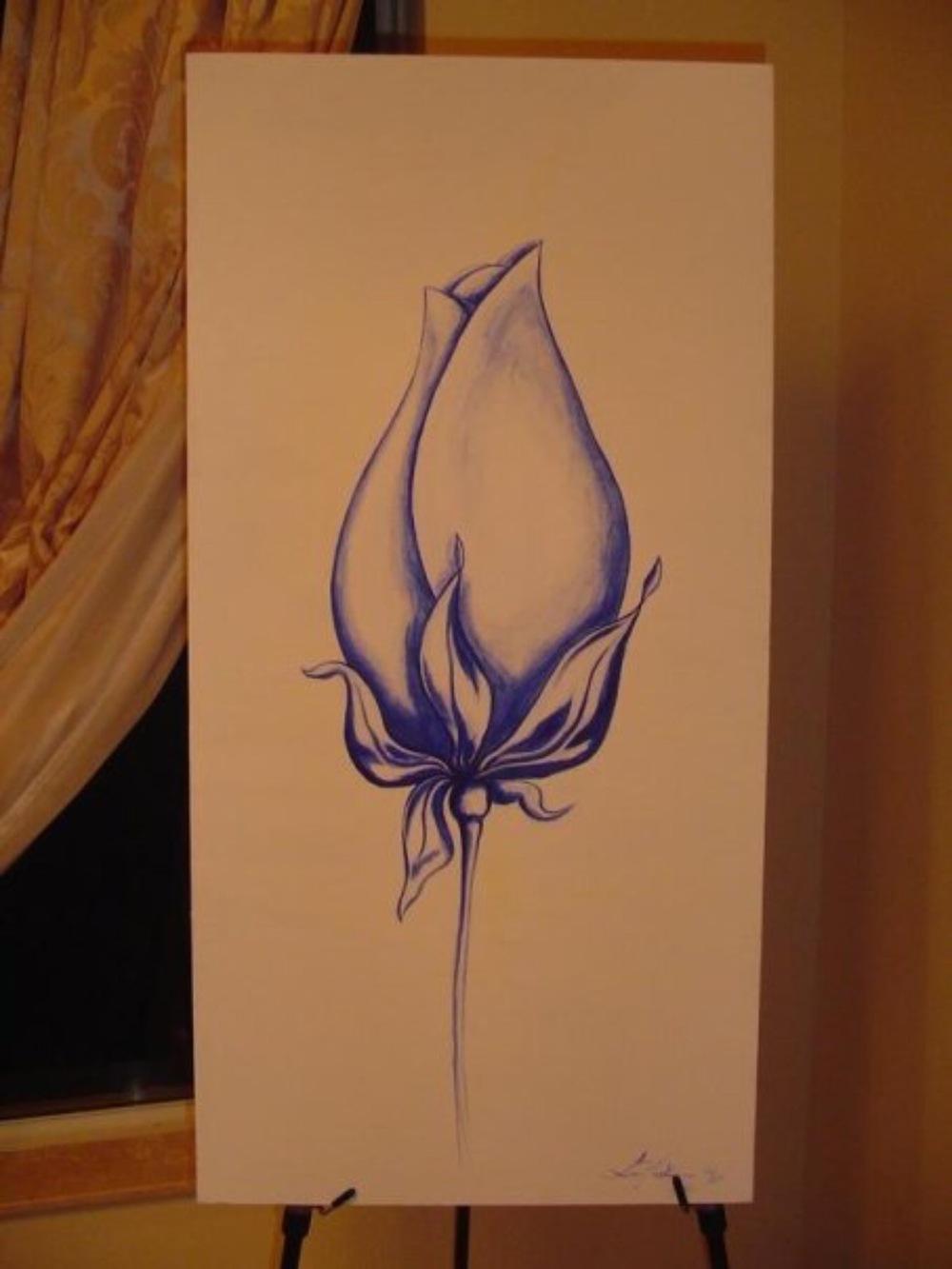Bespoke Art by Liisa Garceau - Blue rose Acrylic on canvas.