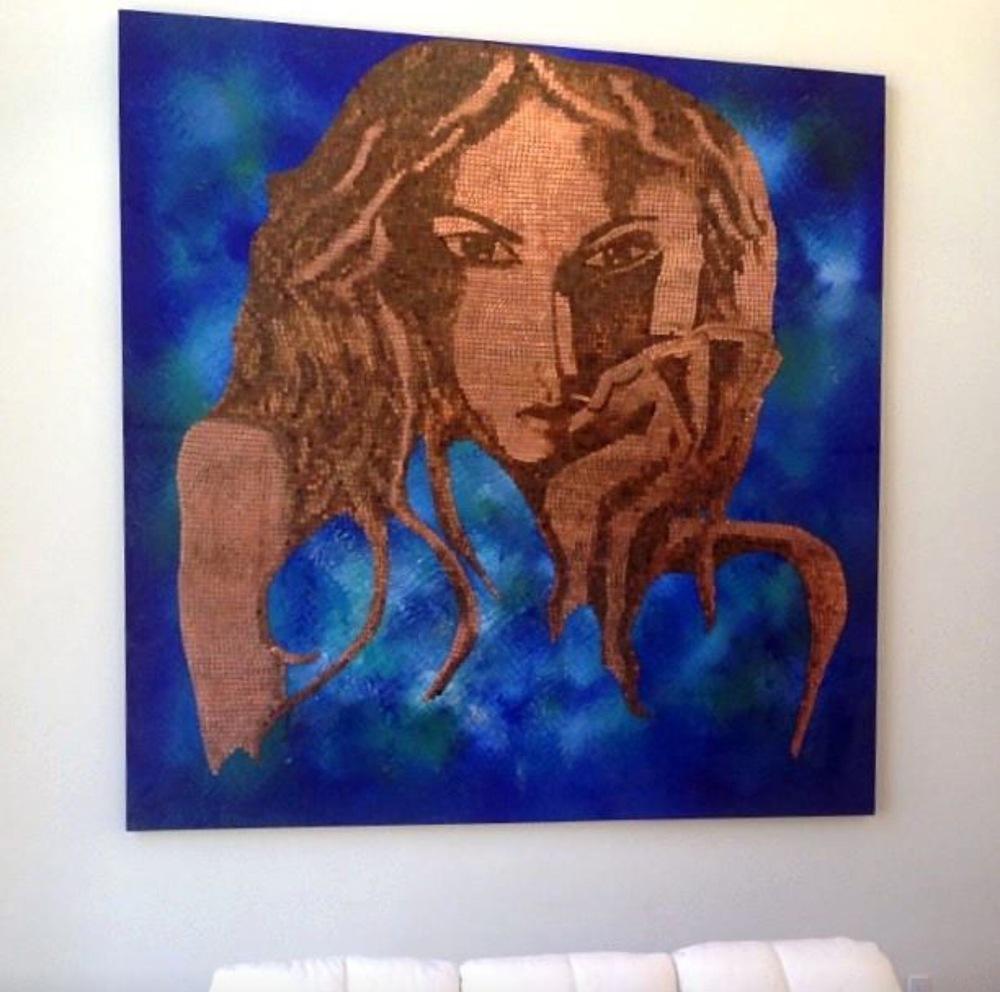 Bespoke Art by Liisa Garceau - 8 by 8 custom mixed media; acrylic paint & American pennies.