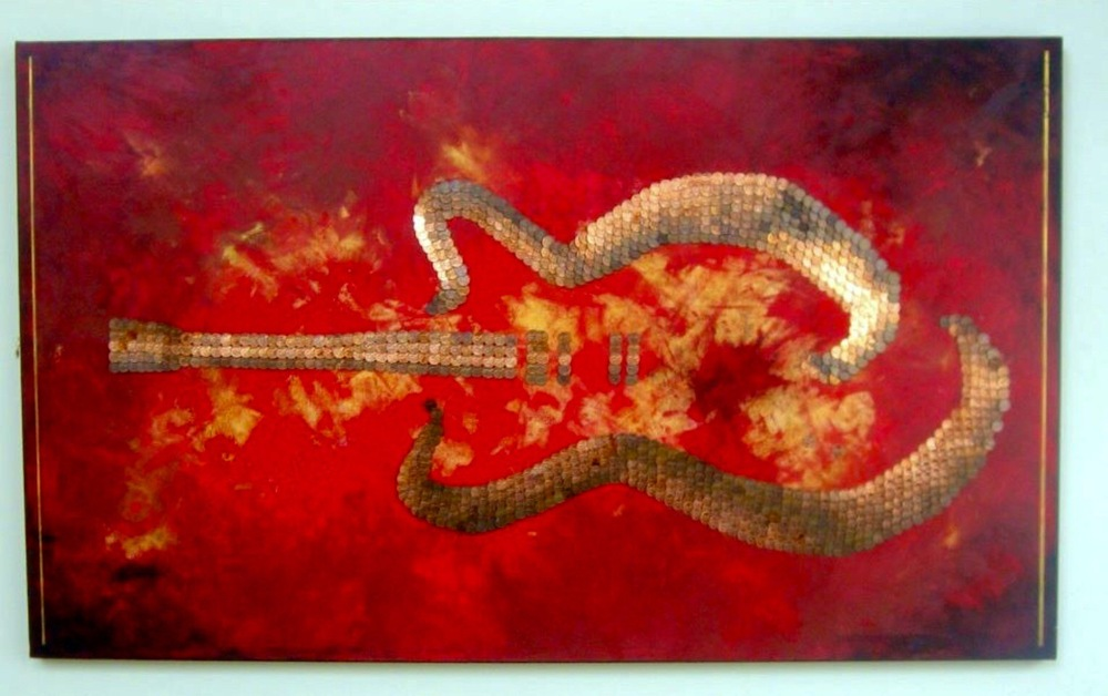 Bespoke Art by Liisa Garceau - Original. Zen abstract guitar. Mixed media; acrylic & American pennies.
