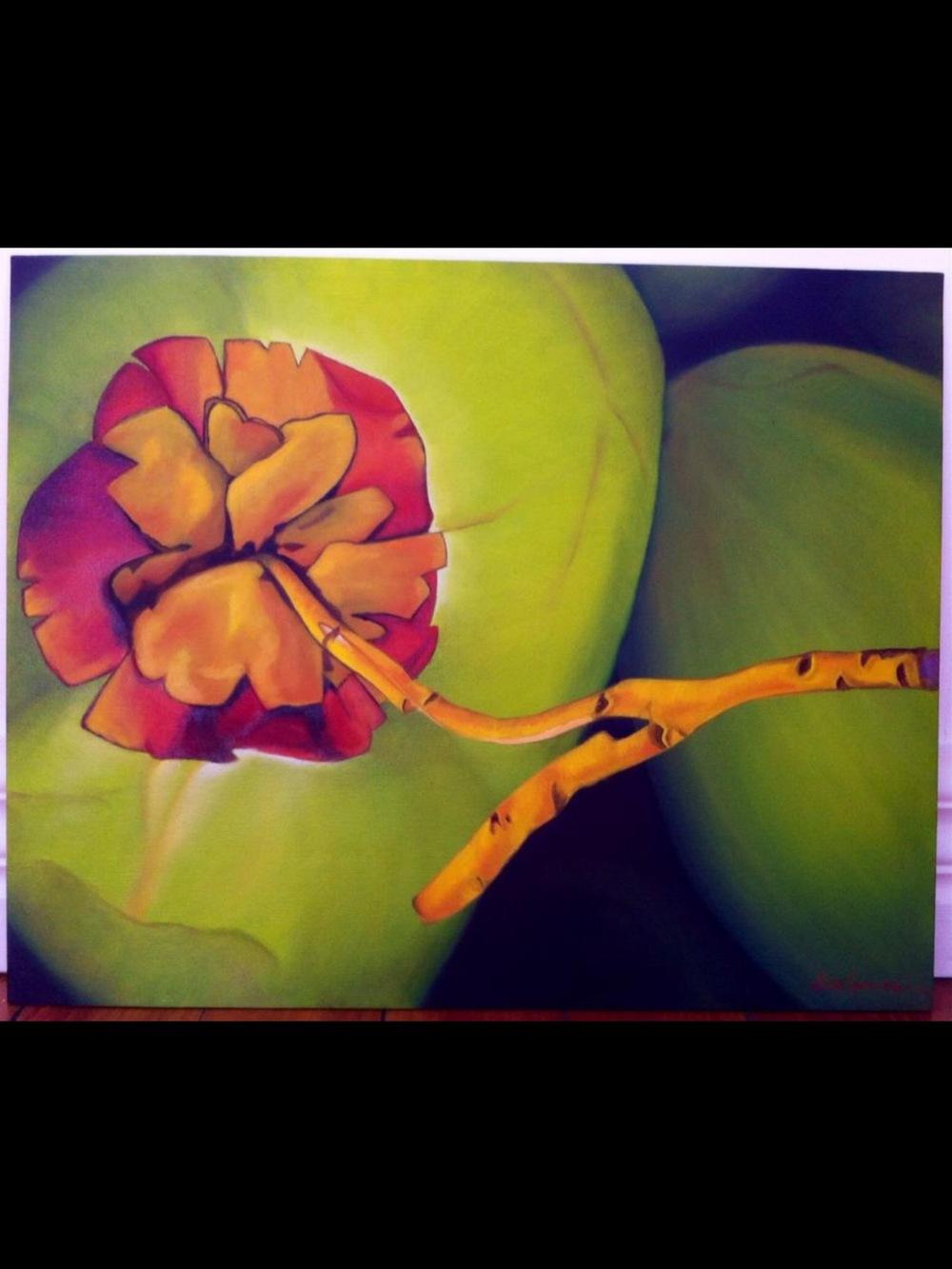 Bespoke Art by Liisa Garceau - Coconut Rose. Oil on canvas.