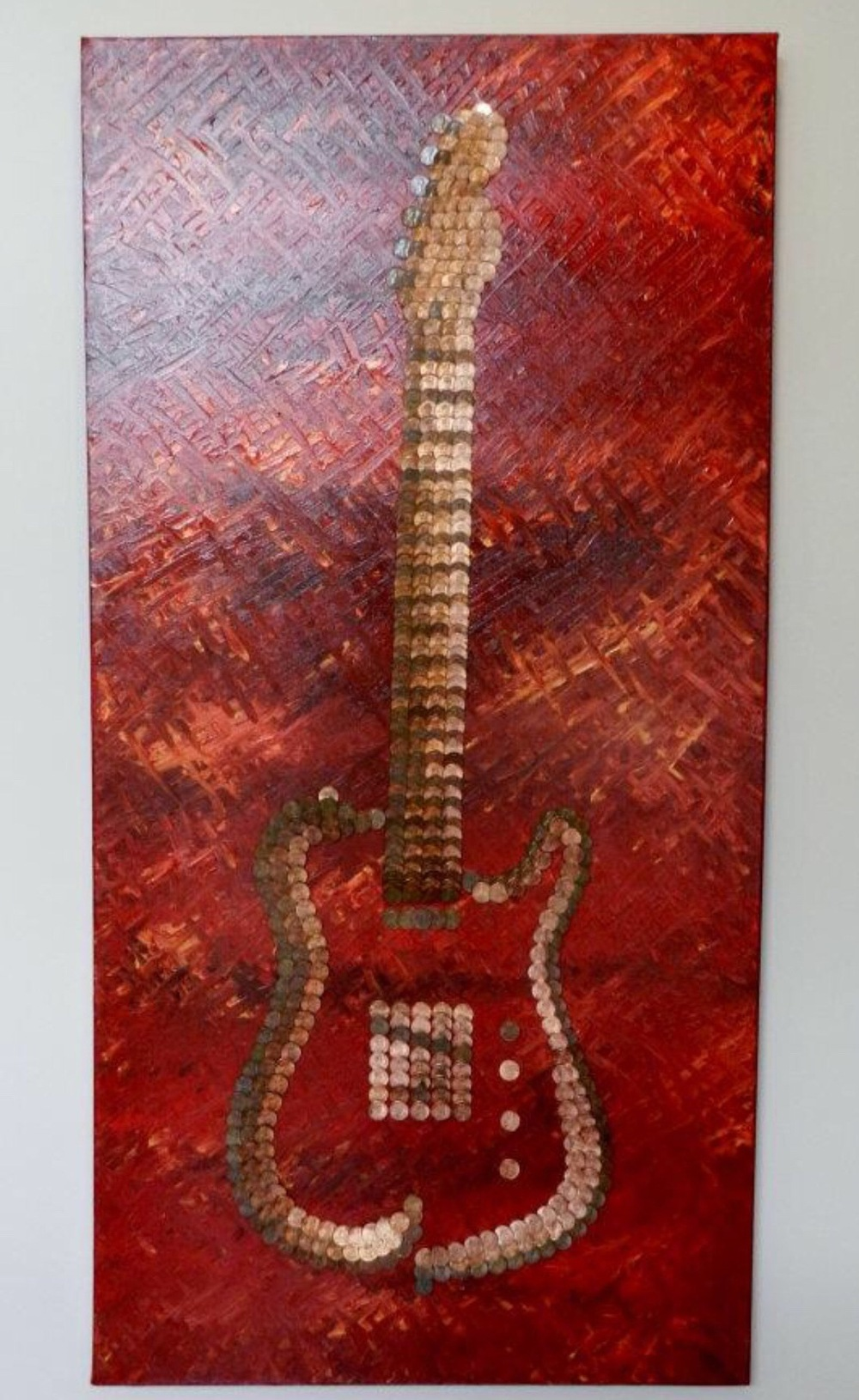 Bespoke Art by Liisa Garceau - Custom abstract guitar. Mixed media; acrylic & American pennies.