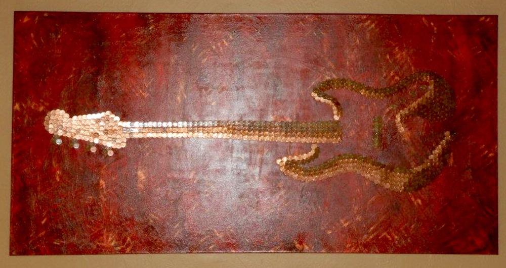 Bespoke Art by Liisa Garceau - Custom abstract base guitar. Mixed media; acrylic & American pennies.