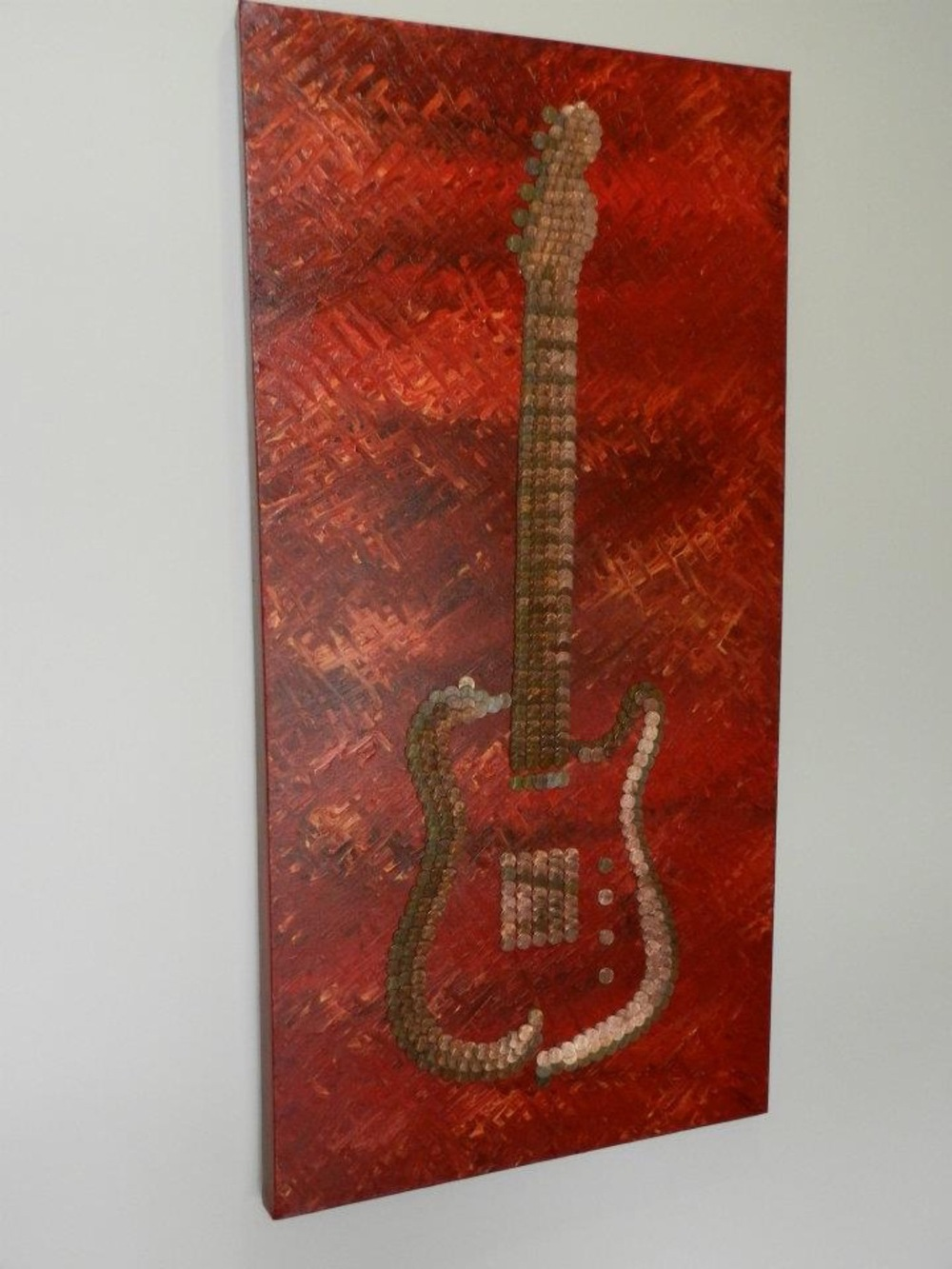 Bespoke Art by Liisa Garceau - Custom abstract mixed media guitar from another angle.