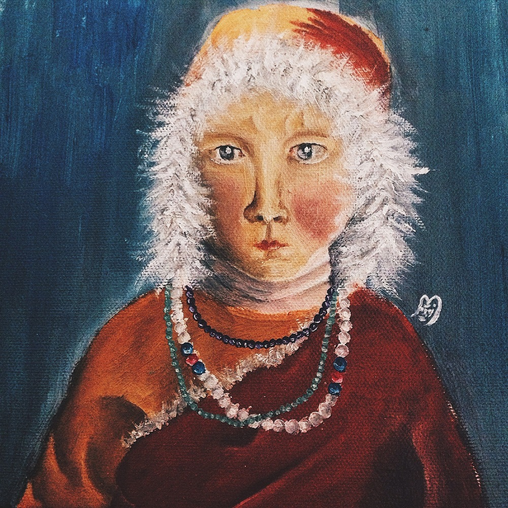 michelleflorida - A child in Tibet Wrapped in a fur coat, this little monk battling in a cold weather. Oil ini canvas, 2015.