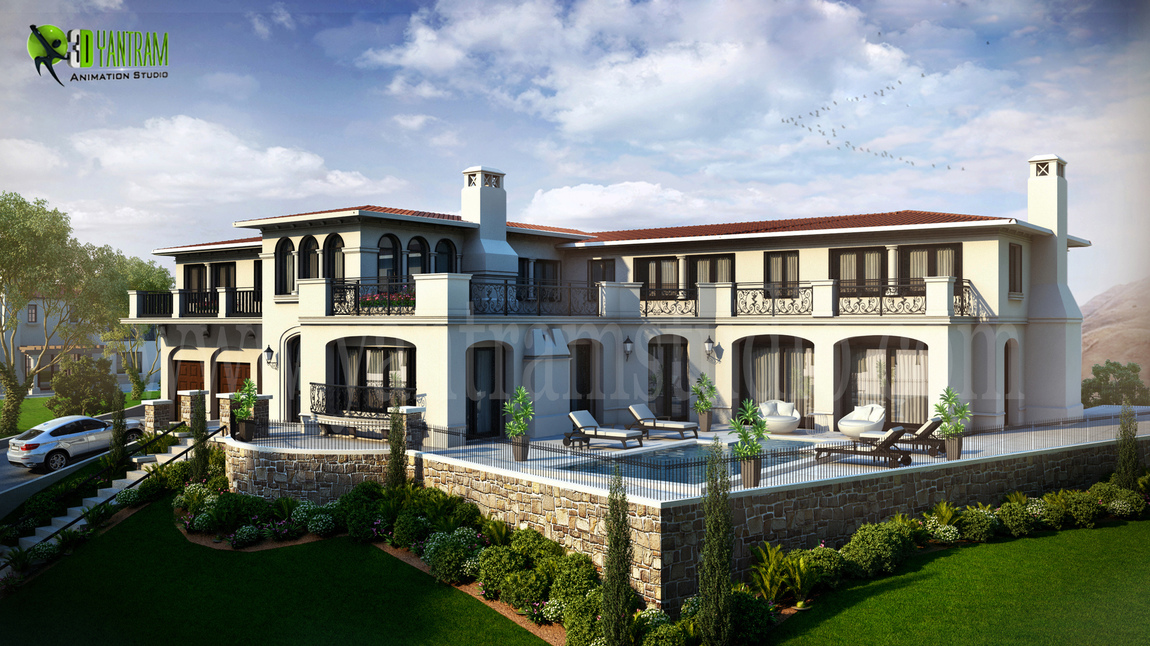 Yantram Studio - Beautiful White Color Residential 3D Elevation Rendering