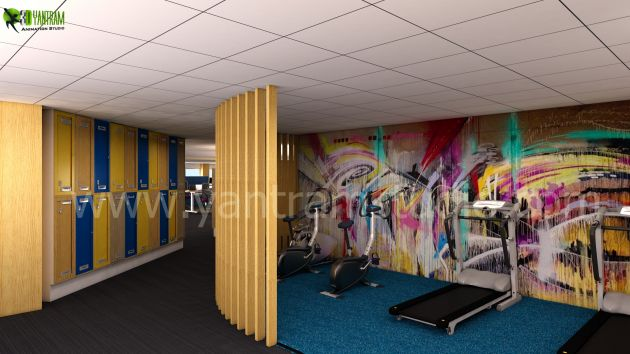 Yantram Studio - Commercial Gym Office Design 3d interior rendering services by Architectural Design Studio, Manchester - UK