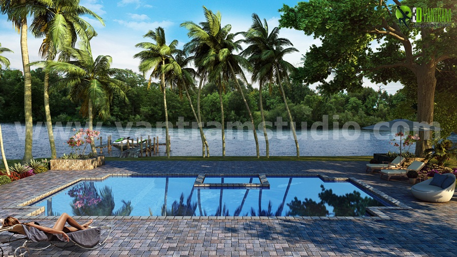 Yantram Studio - 3D Home Pool & River View Concepts Exterior Rendering Services by 3D Architectural Modeling