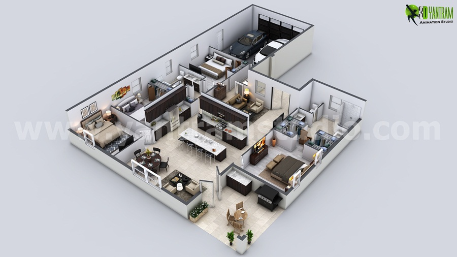 Yantram Studio - Modern Residential 3D Floor Plan Rendering by Architectural Visualisation Studio, Nice - Paris