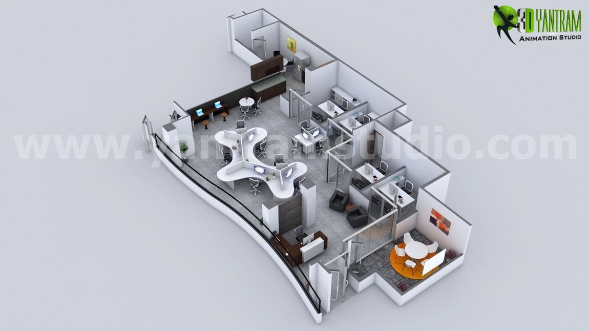 Yantram Studio - Modern 3D Office virtual floor Plan design by Architectural Visualisation Studio, Rome - Italy