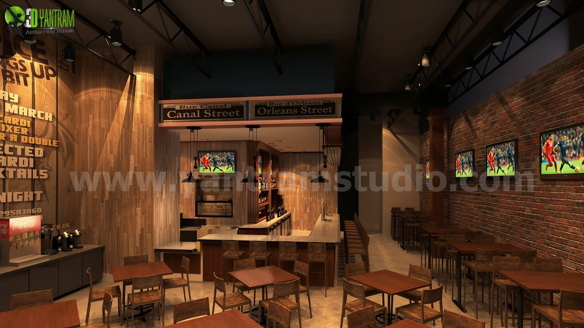 Yantram Studio - Commercial Unique Bar Ideas by interior concept drawings by Architectural Studio, Morocco