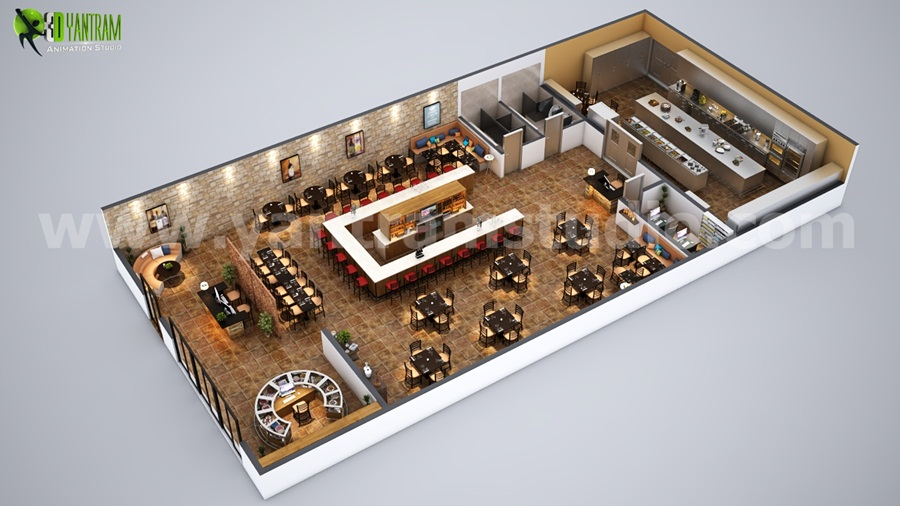 Yantram Studio - Fully Modern Bar 3D Floor Plan Design Ideas By Yantram architectural and design services South Africa