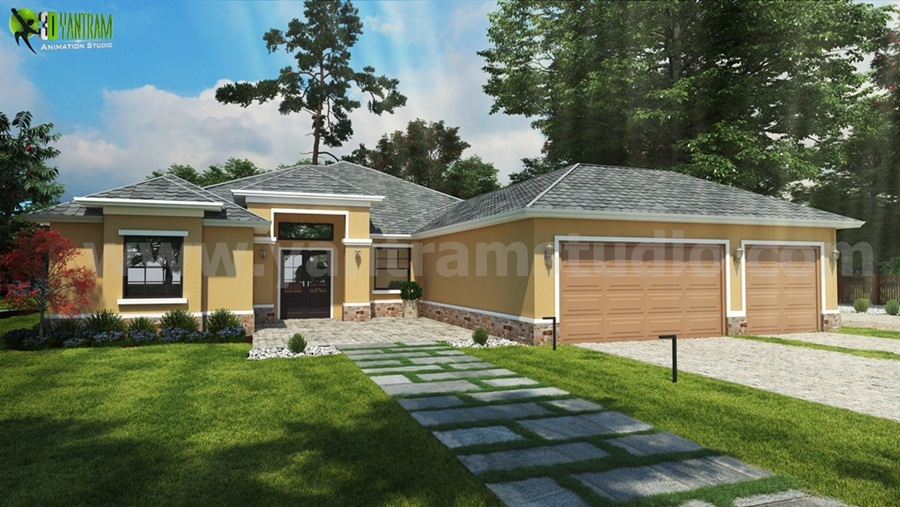 Yantram Studio - House Design Ideas Front Exterior Rendering by Yantram architectural modeling firm Dubai