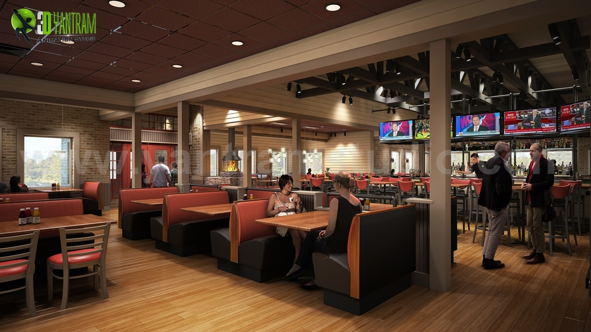 Yantram Studio - Smokey Bones Restaurant - Bar Renovation Design Rendering Ideas by Yantram interior concept drawings Miami, USA