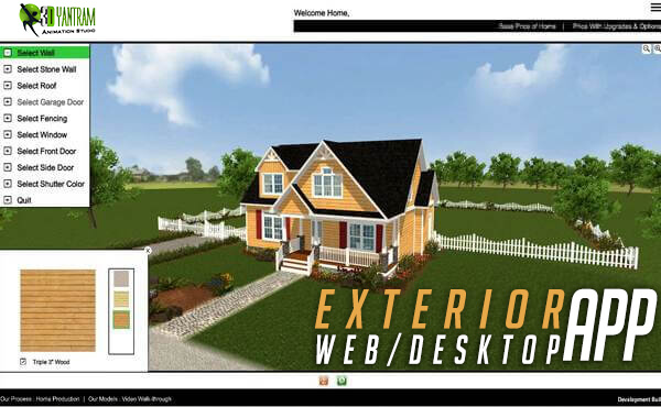 Yantram Studio - Virtual Interactive Desktop & WebGL Application For Exterior Elevation By Yantram Virtual Reality Developer - New Yoek, USA