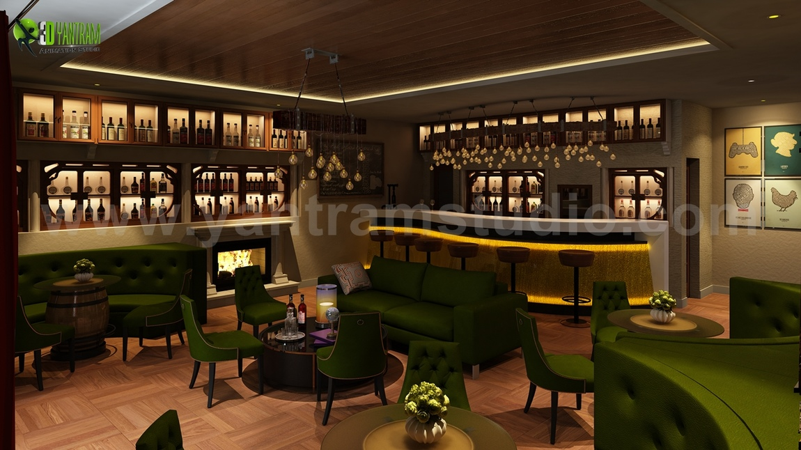 Yantram Studio - Bar & Restaurant interior design by Yantram 3D Interior Rendering Services - London, UK