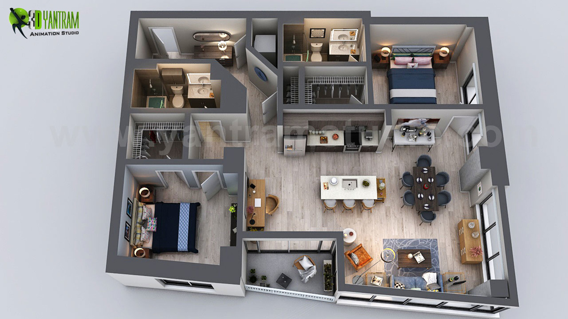 Yantram Studio - Unique Residential Apartment 3D Floor Plan Rendering Ideas by Yantram 3D Home Floor Plan Design, San Diego - USA