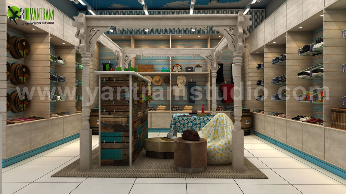 Yantram Studio - Semi-Classic Interior Cloth Shop Concept Drawings ideas by Yantram Architectural Animation Studio, Perth - Australia