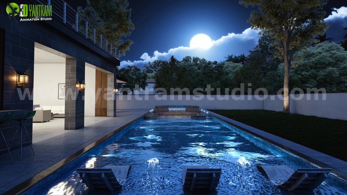 Yantram Studio - Incredible 3D Exterior & Interior Walkthrough Pool House Design by Yantram 3D Architectural Animation, Chicago - USA