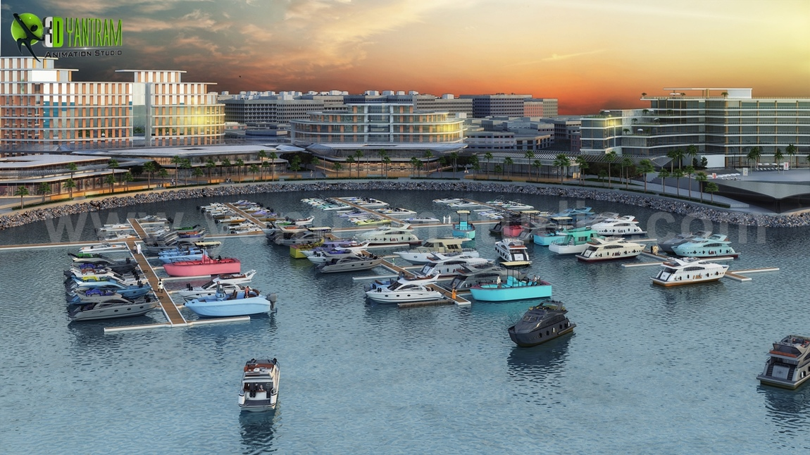 Yantram Studio - Beach Side Hotel Design with Yacht Station Developed by Yantram Exterior Rendering Services, Dubai - UAE