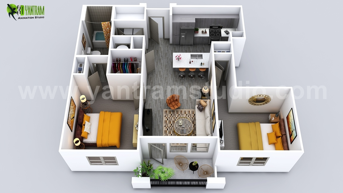 Yantram Studio - Luxuries 3D Home Floor Plan Design by Yantram Virtual Floor Plan, Los Angeles - USA