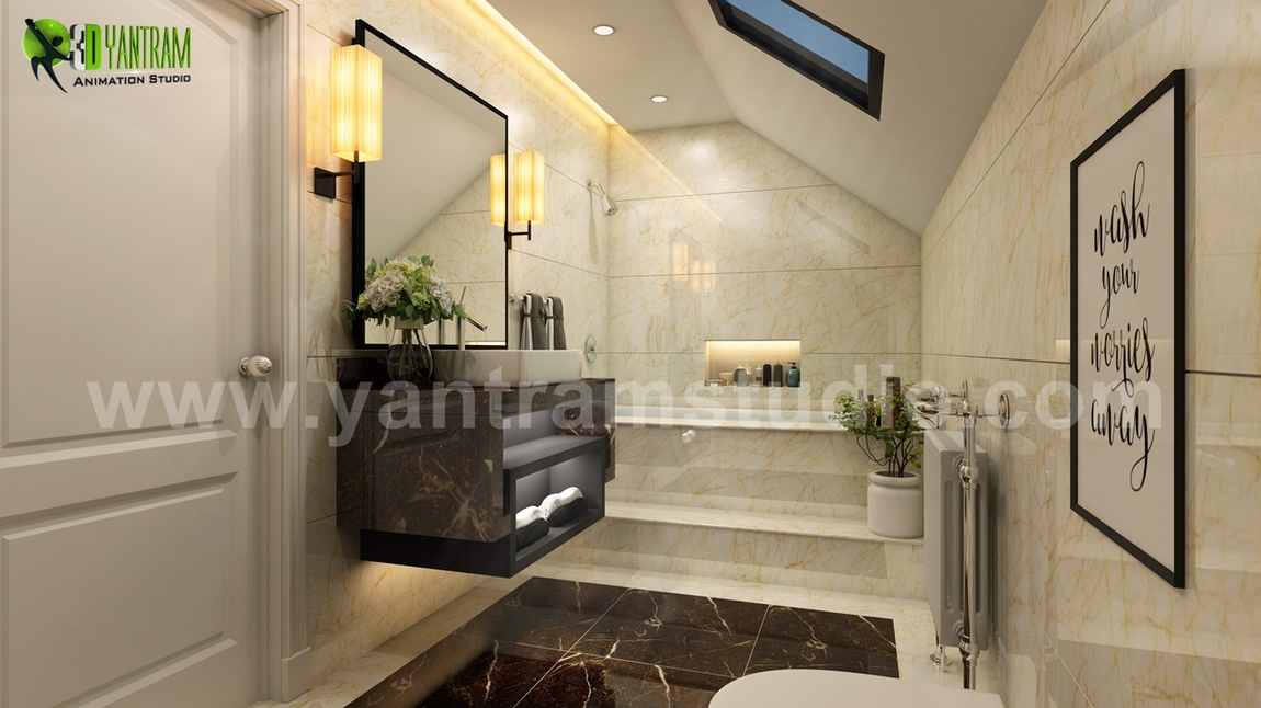 Yantram Studio - Fancy Modern Bathroom Interior Design by Yantram 3D Interior Modeling, California - USA
