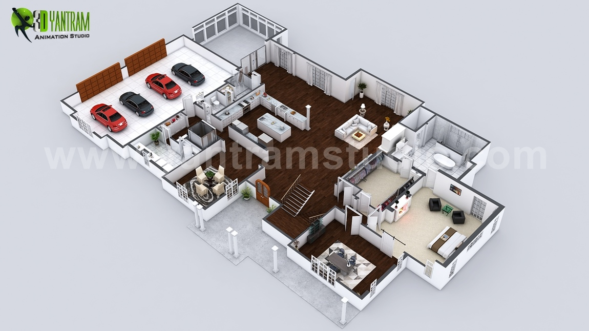 Yantram Studio - Beautiful Modern 3D Home Virtual Floor Plan Developed by Yantram Architectural Rendering Companies, London - UK