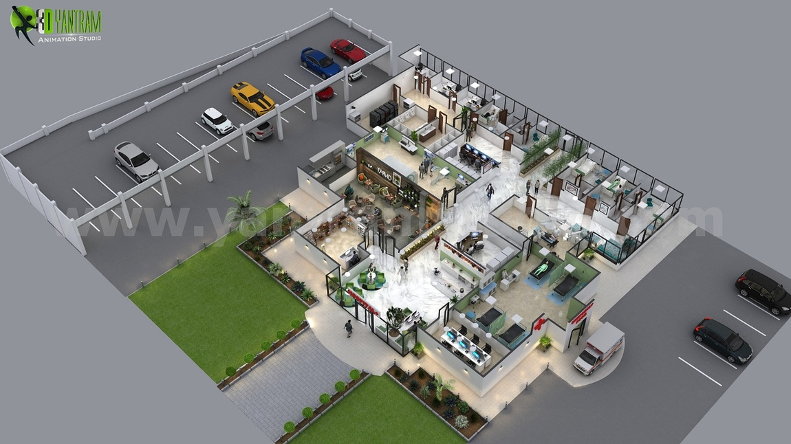 Yantram Studio - Traditional Hospital 3d Floor Plan Design Ideas by Yantram floor plan designer London, UK
