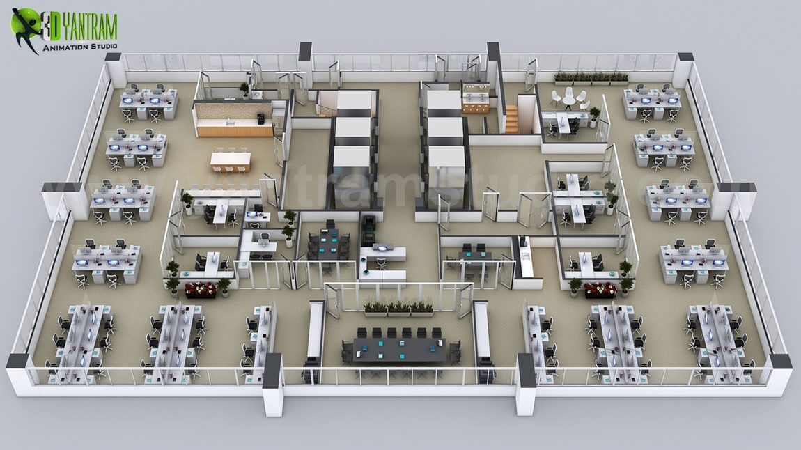 Yantram Studio - Commercial 3D Floor Plans of the Sets for The Office in Washington, USA