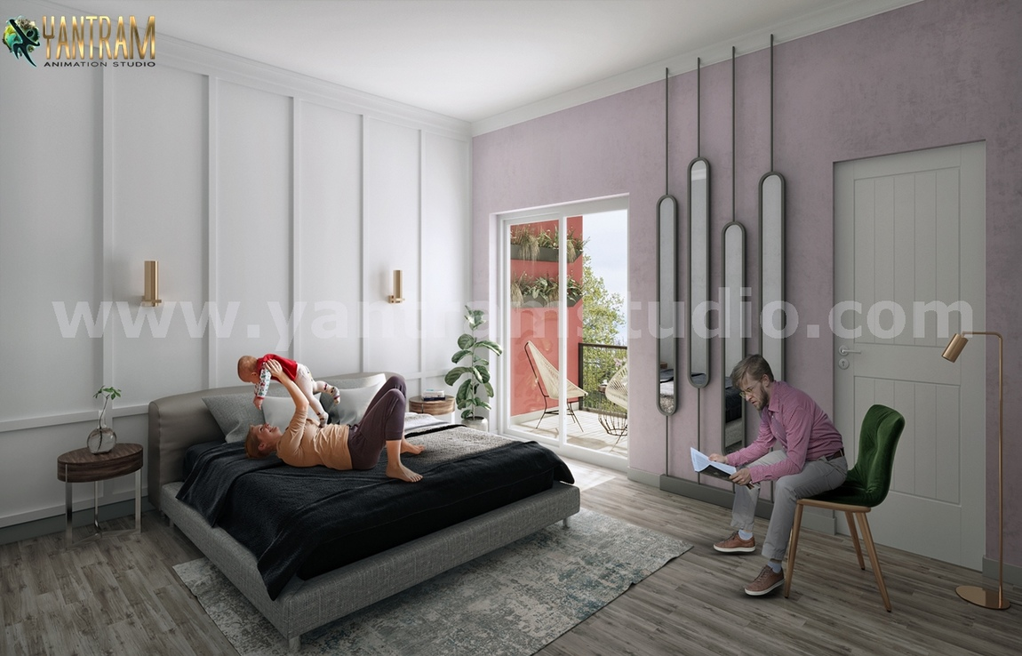 Yantram Studio - Modern Master Bedroom ideas of 3D Interior Modeling by Yantram Architectural Visualisation Studio, Paris – France