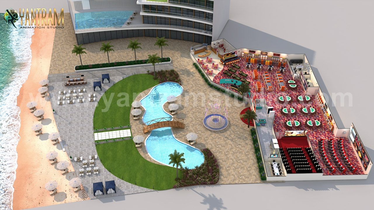 Yantram Studio - Unique Game Zone with Beach side Swimming Pool 3D Floor Plan Rendering Service by Architectural Visualisation Studio, Paris – France
