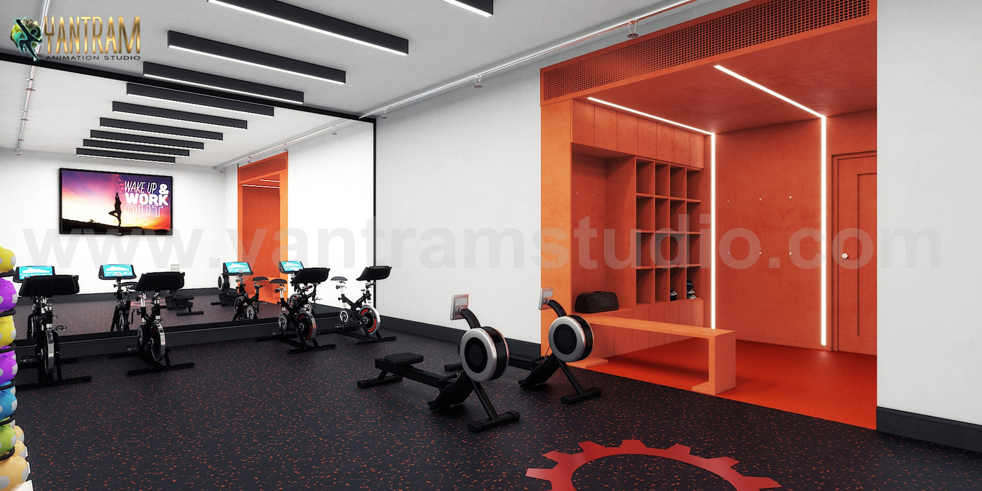 Yantram Studio - Commercial Fitness GYM 3D Interior Designers Ideas by Architectural Rendering Companies, Bern – UK