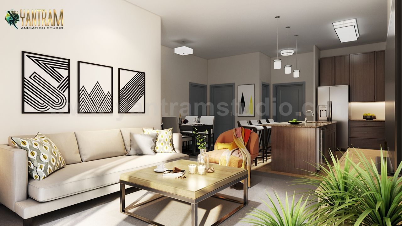 Yantram Studio - Modern Kitchen Living Room Combo & Decorative Bathroom 3D Interior Rendering Services Ideas by Architectural Visualisation Studio, Bangkok – Thailand