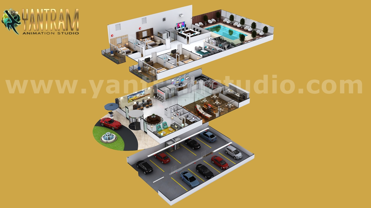 Yantram Studio - Contemporary Hotel style 3d home floor plan design & interior  by Architectural Modeling Firm, Los Angeles – USA