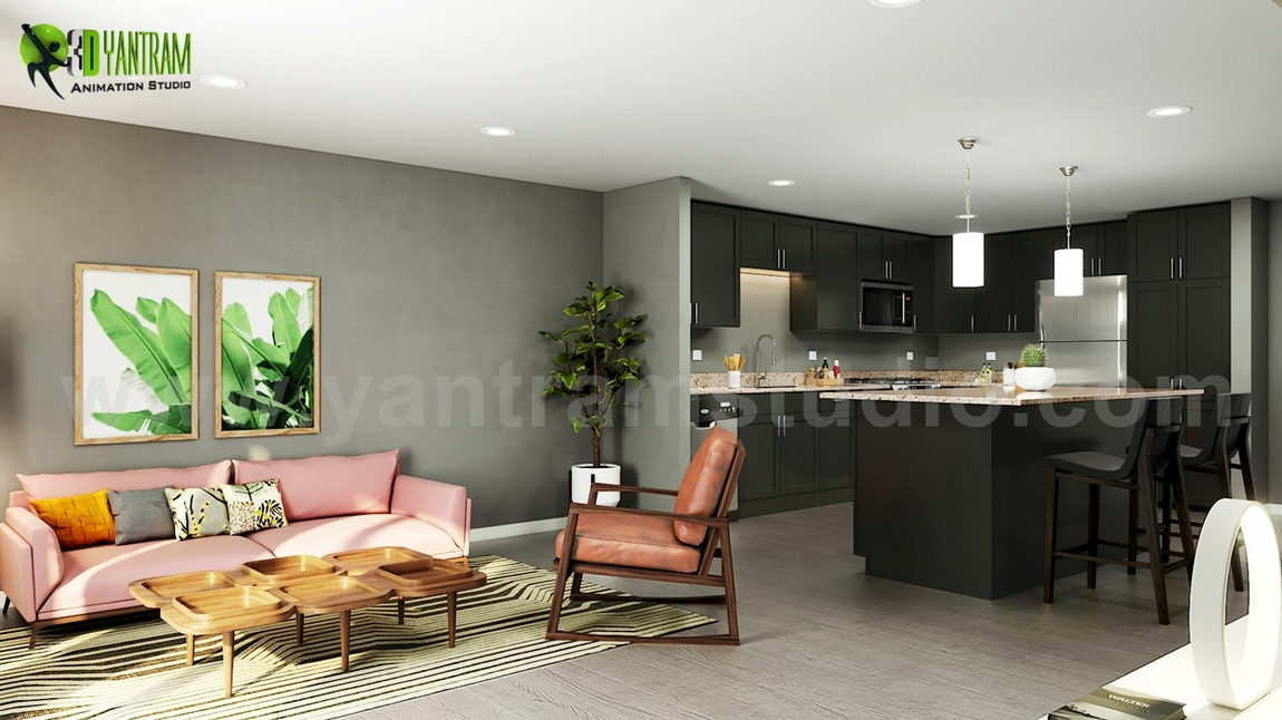 Yantram Studio - Open Concept Kitchen Living Room 3D Interior Rendering Design Ideas Developed By Yantram 3D Architectural Design, Doha - Qatar