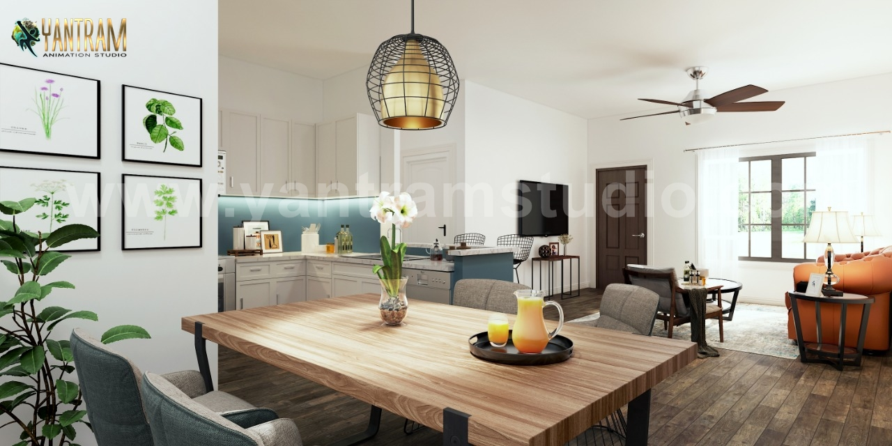 Yantram Studio - Creative Kitchens, Living room with dining area Interior Design Ideas by Architectural Visualisation Studio, London – UK