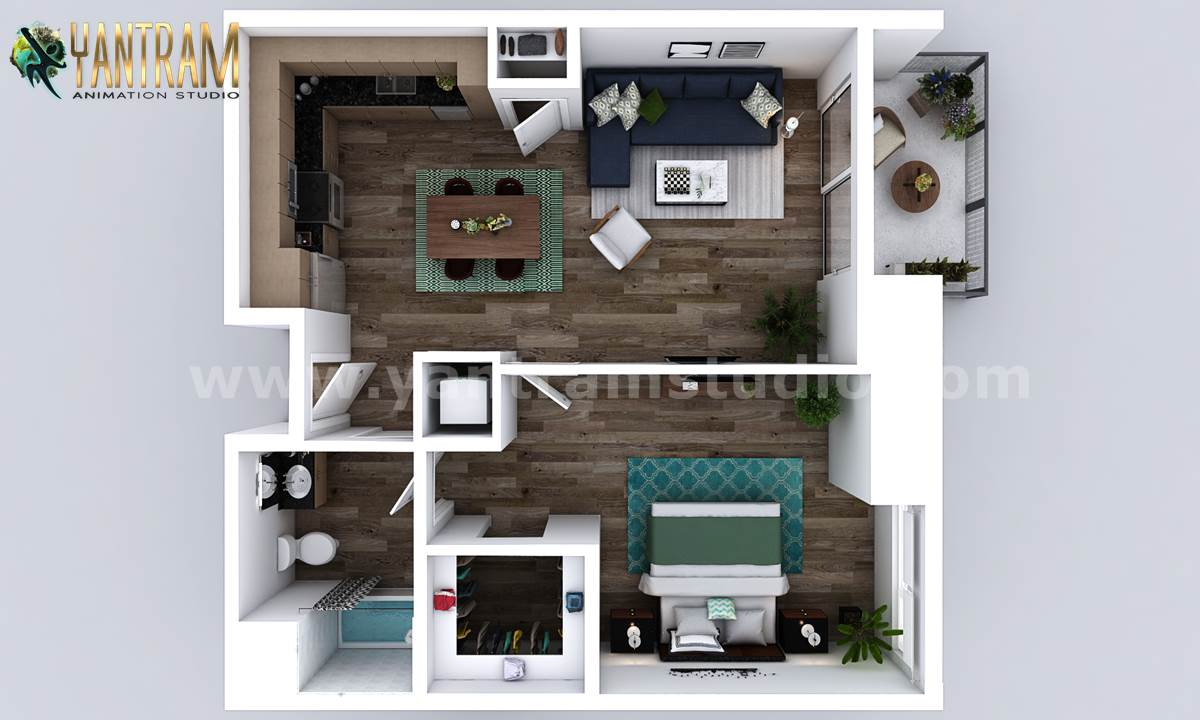 Yantram Studio - Small New Style One Bedroom Apartment floor Plan design companies by Architectural Animation Services